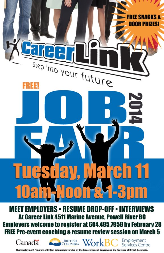 Career Link's Job Fair will be held on Tuesday, March 11, 2014: am and pm sessions