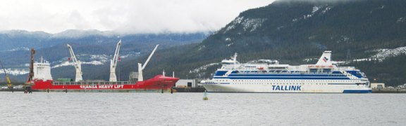 The retrofitted MS Silja Festival now docked in the Douglas Channel at Rio Tinto Alcan's Terminal B. The ship will house 600 workers for the Kitimat Modernization Project. Image: Kitimat Northern Sentinel