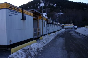 A series of ATCO trailers provides on-site management offices for workers of the Kitimat Modernization Project. Nearby, similar structures are set up to house workers. The proposed maximum capacity of the on-land camp is 2,160. Image: Kitimat Northern Sentinel