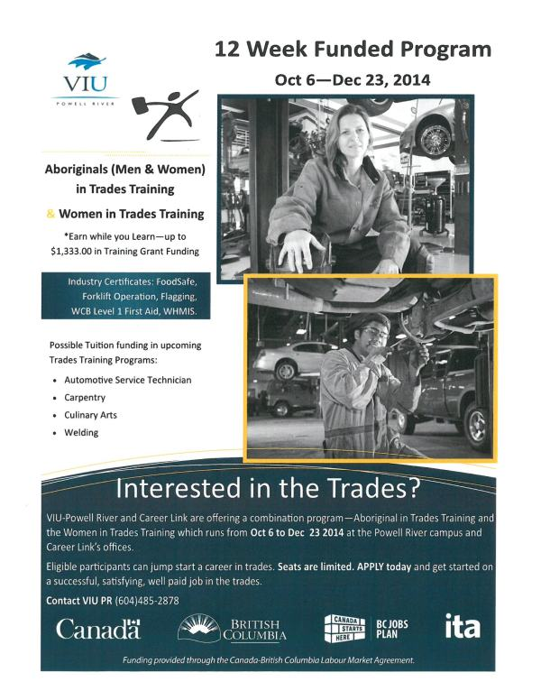 NEW: Aboriginal men are also now qualify for the Aboriginals and Women in Trades Training Program