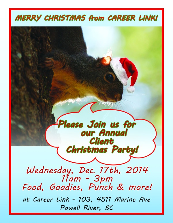 Join us at Career Link on Wed. Dec 17 11am-3pm for our client Christmas Party!