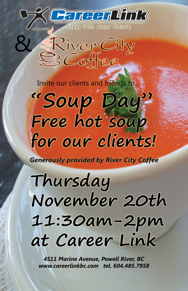 FREE Soup Day at Career Link on Thurs. Nov 20 (11:30am-2pm)