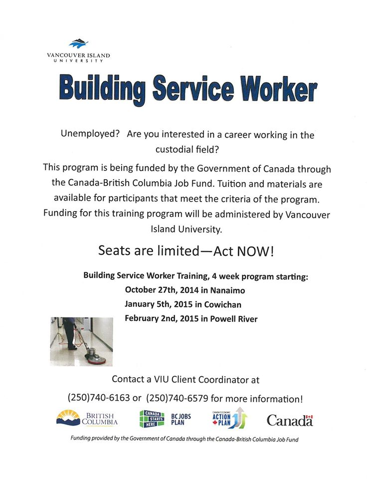 apply now! free 4-week building services worker certificate with viu ...