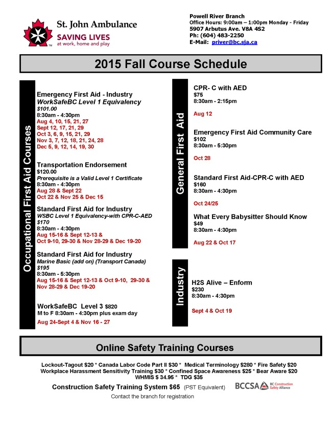 Fall Schedule Aug - Dec 2015