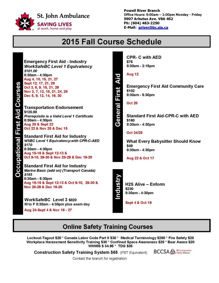 Fall Schedule Aug - Dec 2015