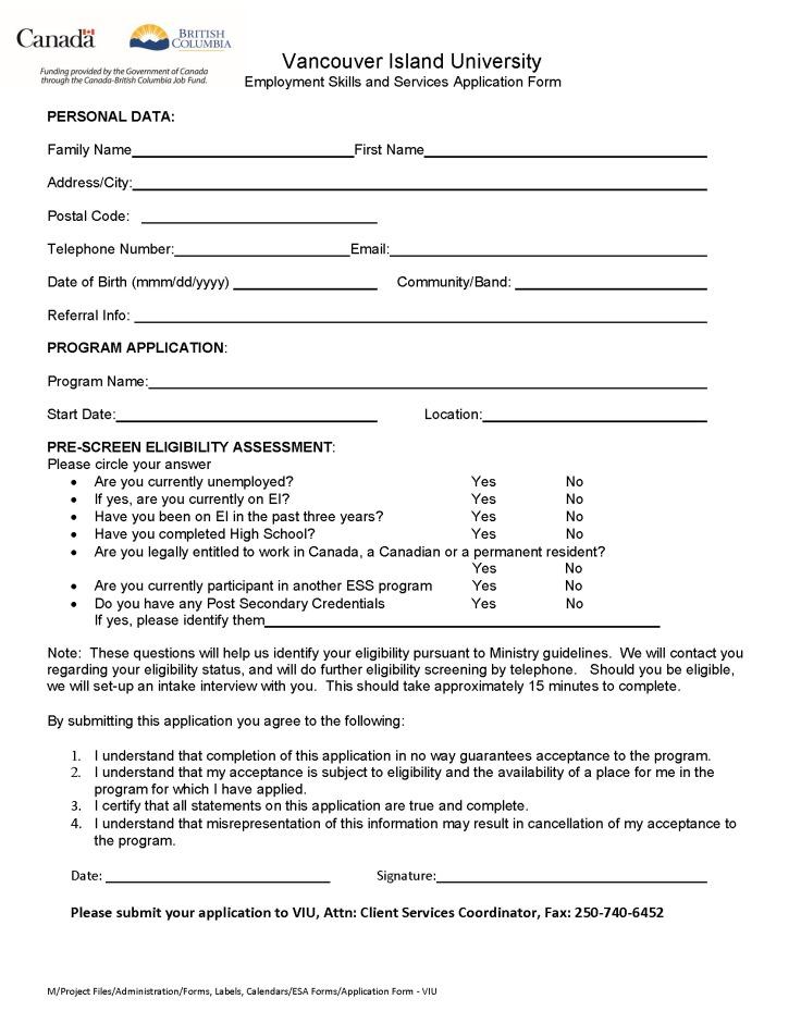 Application Form - VIU
