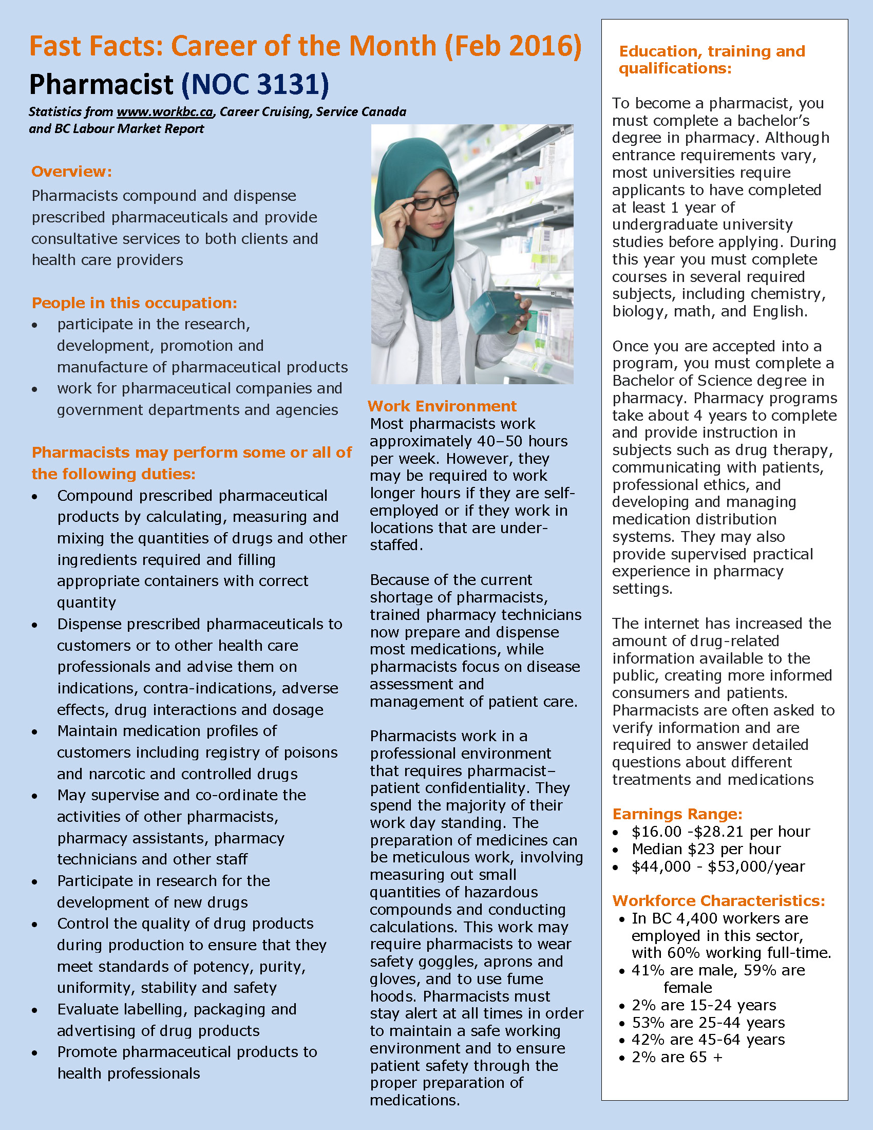 Career Of The Month Fast Facts_Feb2016 Pharmacist_Page_1