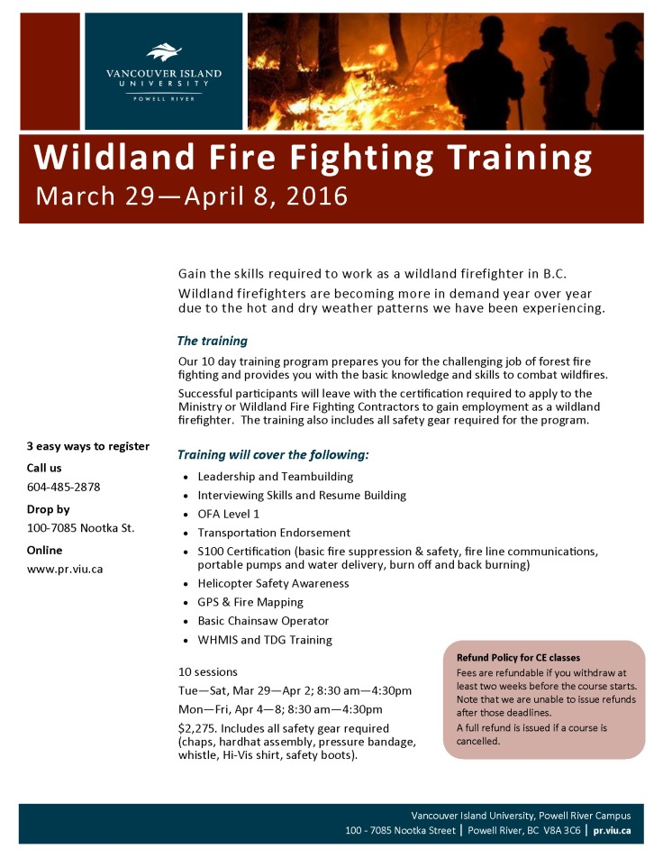 WildlandFirefightingTraining_Spring2016_Poster