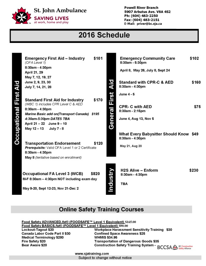 POW Class Schedule