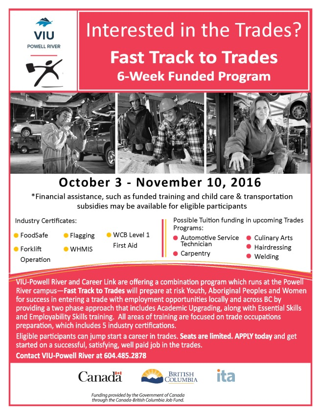 VIU_FastTrackToTrades_Oct 16 intake_Poster_8 5x11_FINAL