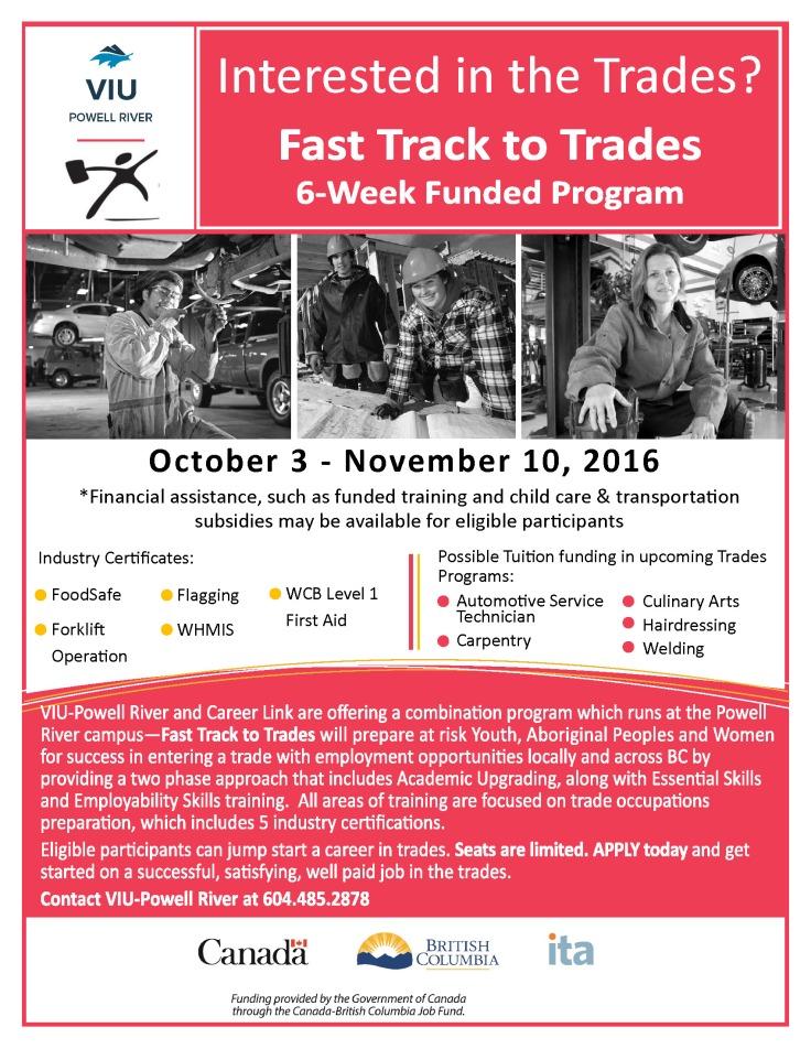 VIU_FastTrackToTrades_Oct 16 intake_Poster_8 5x11_FINAL