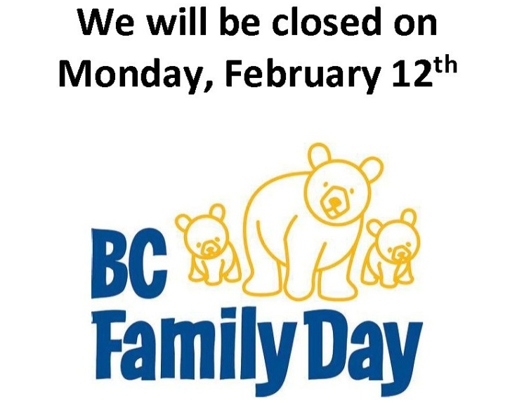 We will be closed on Monday
